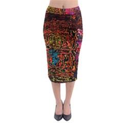 Exotic Water Colors Vibrant  Midi Pencil Skirt