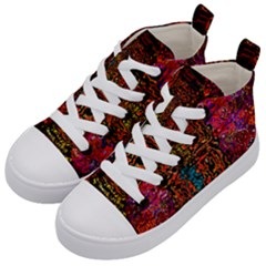 Exotic Water Colors Vibrant  Kid s Mid Top Canvas Sneakers by flipstylezdes