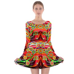 Colorful Artistic Retro Stringy Colorful Design Long Sleeve Skater Dress