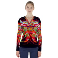Colorful Artistic Retro Stringy Colorful Design V Neck Long Sleeve Top