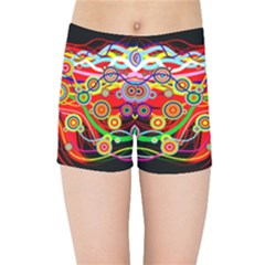 Colorful Artistic Retro Stringy Colorful Design Kids Sports Shorts