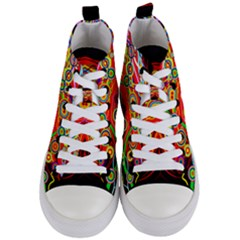 Colorful Artistic Retro Stringy Colorful Design Women s Mid Top Canvas Sneakers