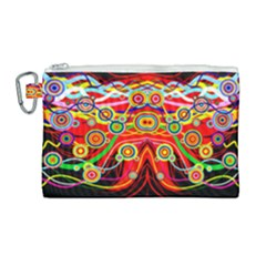 Colorful Artistic Retro Stringy Colorful Design Canvas Cosmetic Bag (large) by flipstylezdes