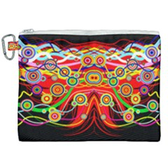 Colorful Artistic Retro Stringy Colorful Design Canvas Cosmetic Bag (xxl) by flipstylezdes
