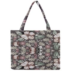 Seamless Pink Green And White Florals Peach Mini Tote Bag by flipstylezdes