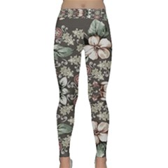 Seamless Pink Green And White Florals Peach Classic Yoga Leggings