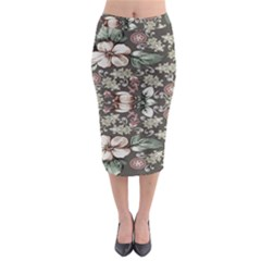 Seamless Pink Green And White Florals Peach Midi Pencil Skirt