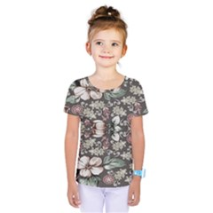 Seamless Pink Green And White Florals Peach Kids  One Piece Tee