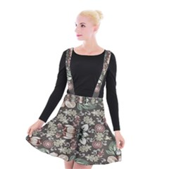 Seamless Pink Green And White Florals Peach Suspender Skater Skirt