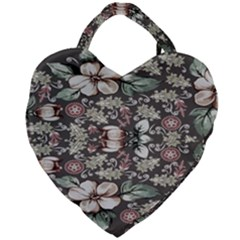 Seamless Pink Green And White Florals Peach Giant Heart Shaped Tote