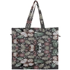 Seamless Pink Green And White Florals Peach Canvas Travel Bag by flipstylezdes