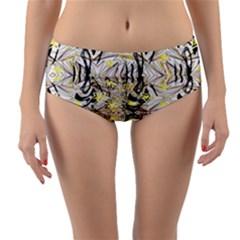 Retro Seamless Black And Gold Design Reversible Mid Waist Bikini Bottoms