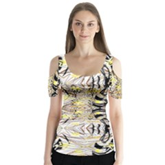 Retro Seamless Black And Gold Design Butterfly Sleeve Cutout Tee