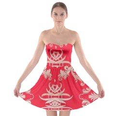 Red Chinese Inspired  Style Design  Strapless Bra Top Dress