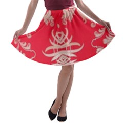 Red Chinese Inspired  Style Design  A Line Skater Skirt