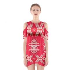 Red Chinese Inspired  Style Design  Shoulder Cutout One Piece