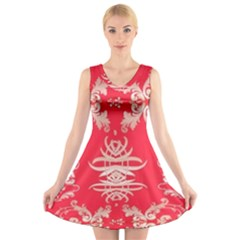 Red Chinese Inspired  Style Design  V Neck Sleeveless Dress