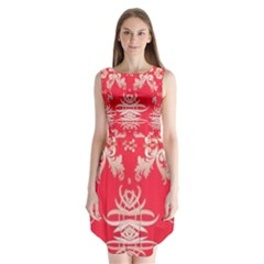 Red Chinese Inspired  Style Design  Sleeveless Chiffon Dress
