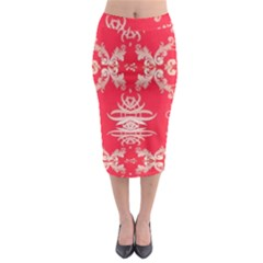 Red Chinese Inspired  Style Design  Midi Pencil Skirt