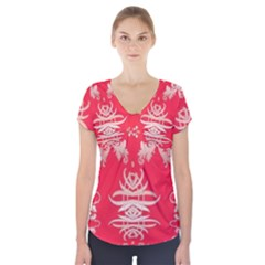 Red Chinese Inspired  Style Design  Short Sleeve Front Detail Top