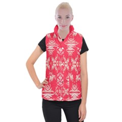 Red Chinese Inspired  Style Design  Women s Button Up Vest
