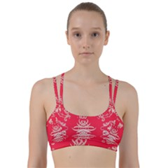 Red Chinese Inspired  Style Design  Line Them Up Sports Bra