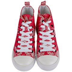 Red Chinese Inspired  Style Design  Women s Mid Top Canvas Sneakers