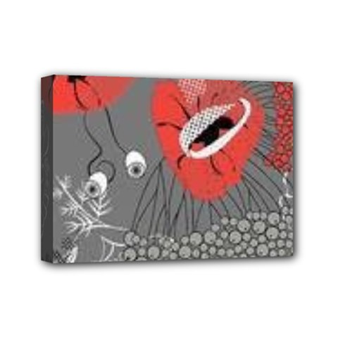 Red Poppy Flowers On Gray Background  Mini Canvas 7  X 5