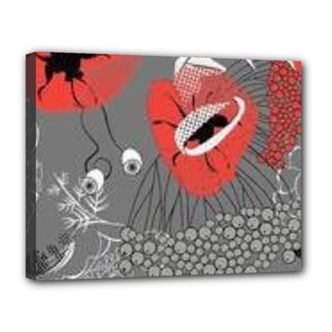 Red Poppy Flowers On Gray Background  Canvas 14  X 11