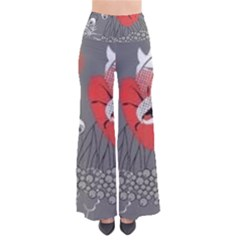 Red Poppy Flowers On Gray Background  So Vintage Palazzo Pants