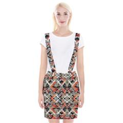 Retro Orange Black And White  Braces Suspender Skirt