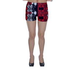 Red And Black Florals  Skinny Shorts