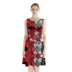 Red And Black Florals  Sleeveless Waist Tie Chiffon Dress