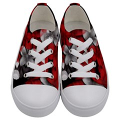 Red And Black Florals  Kids  Low Top Canvas Sneakers