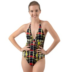 Retro Red And Black Liquid Gold  Halter Cut Out One Piece Swimsuit