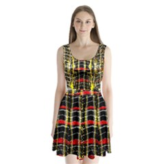 Retro Red And Black Liquid Gold  Split Back Mini Dress