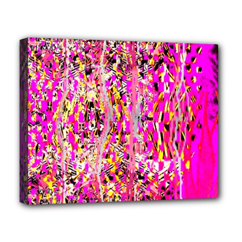 Hot Pink Mess Snakeskin Inspired  Deluxe Canvas 20  X 16