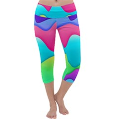 Lines Curves Colors Geometric Lines Capri Yoga Leggings