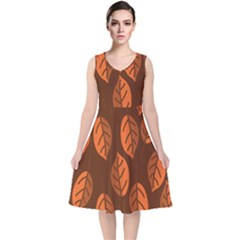 Pattern Leaf Plant Decoration V Neck Midi Sleeveless Dress