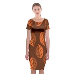 Pattern Leaf Plant Decoration Classic Short Sleeve Midi Dress