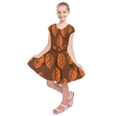 Pattern Leaf Plant Decoration Kids  Short Sleeve Dress