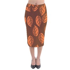 Pattern Leaf Plant Decoration Velvet Midi Pencil Skirt by Nexatart