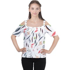 Watercolor Tablecloth Fabric Design Cutout Shoulder Tee