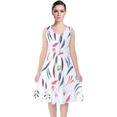 Watercolor Tablecloth Fabric Design V Neck Midi Sleeveless Dress