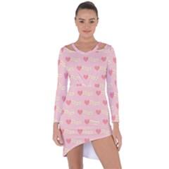 Heart Love Pattern Asymmetric Cut Out Shift Dress