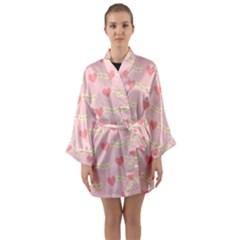Heart Love Pattern Long Sleeve Kimono Robe