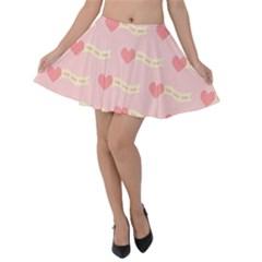 Heart Love Pattern Velvet Skater Skirt