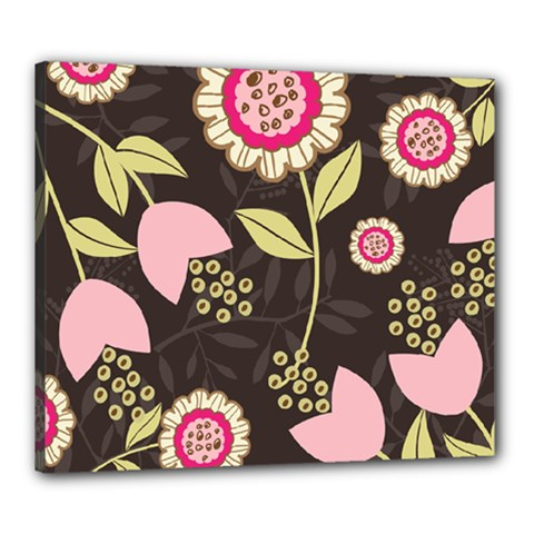 Flowers Wallpaper Floral Decoration Canvas 24  X 20