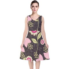 Flowers Wallpaper Floral Decoration V Neck Midi Sleeveless Dress