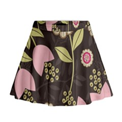 Flowers Wallpaper Floral Decoration Mini Flare Skirt